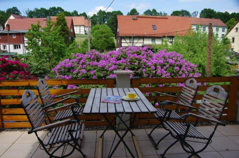 Terrasse während der Rhododendronblüte (ab Mitte Mai)