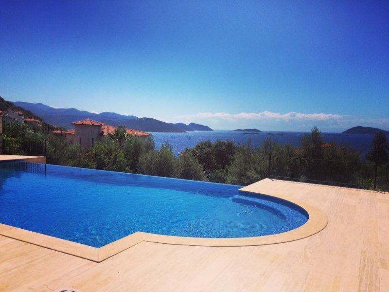 Beautiful view of the infinity pool, the Mediterrainian, and the Turkish and Greek islands beyond.