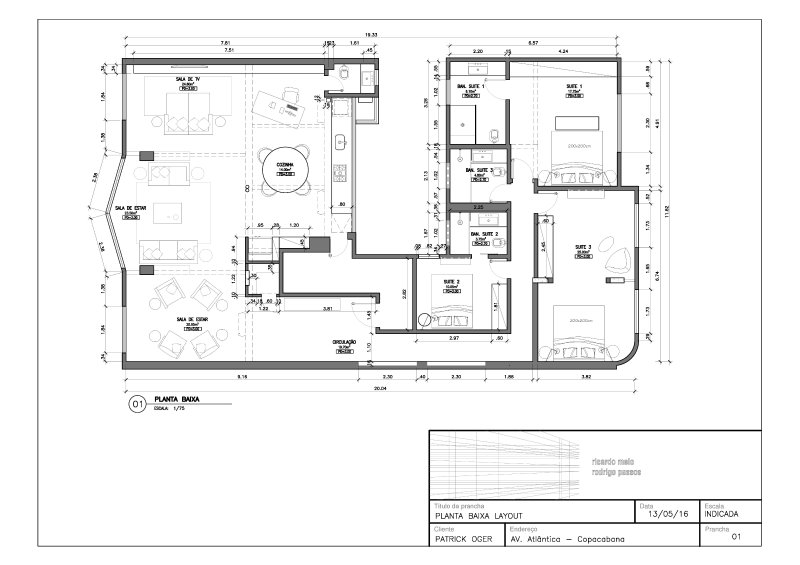 Plan of the apartment; Ocean avenue is on the left.