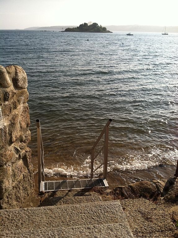 Highest tide at the steps to little swim beach around the corner from the house