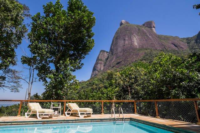 Pedra da Gavea in  front of the pool