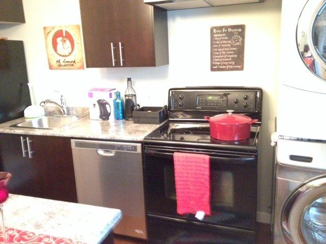 full kitchen with dishwasher, stove and full size fridge