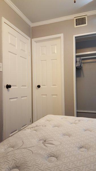 One door is Exit to bedroom, other door is to bathroom
