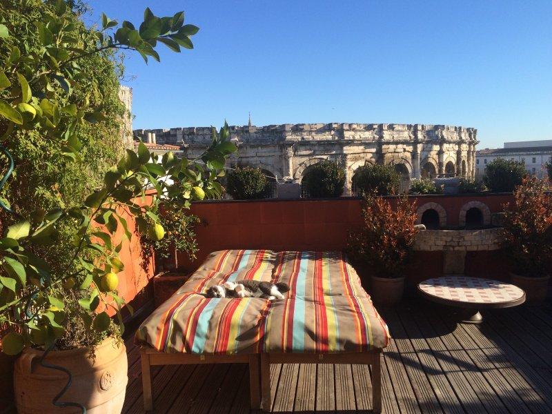 Terrasse équipée 27 m2 devant les Arênes