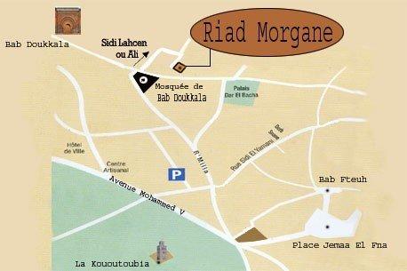 Plan de situation du Riad Morgane au 39 Derb Sidi Lahcen ou Ali Bab Doukkala la Médina Marrakech