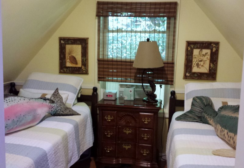 Twin Beds, small bedroom upstairs, with air conditioner.