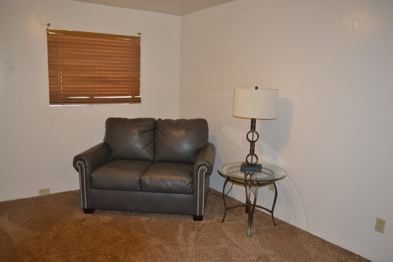 Sitting area in Downstairs Master bedroom.  Loveseat folds out into twin bed