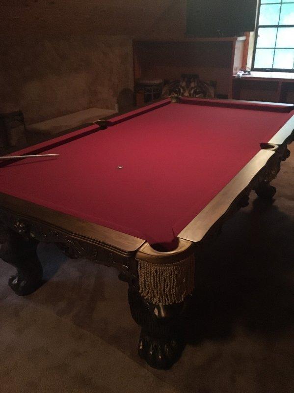 Pool table in upstairs gameroom