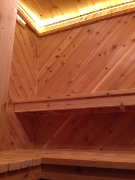 Cedar inside the suana
