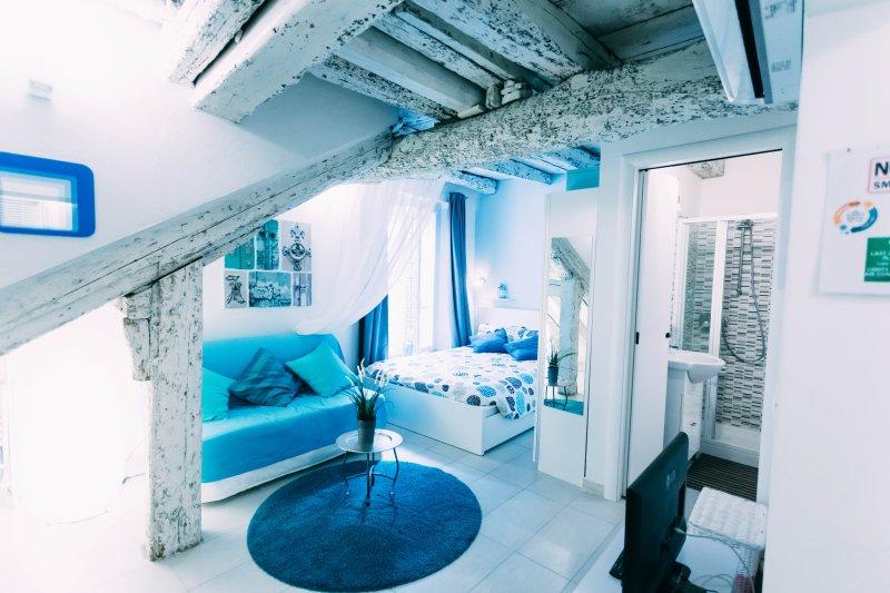 panoramica con divano letto matrimoniale letto matrimoniale e ingresso bagno