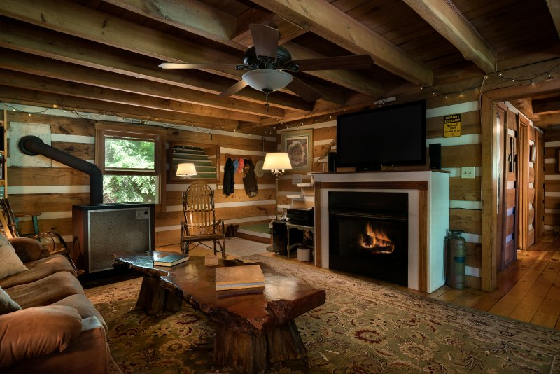 Living room with wood stove, gas fireplace, 50' HDTV, and 7.1 surround sound