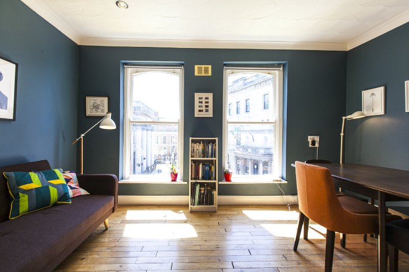 Living Room features two old, sash windows overlooking Dublin Castle.
