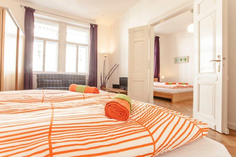 Bel appartement de 3 chambres avec balcon pouvant accueillir jusqu'à 8 personnes dans la vieille ville à côté du pont Charles