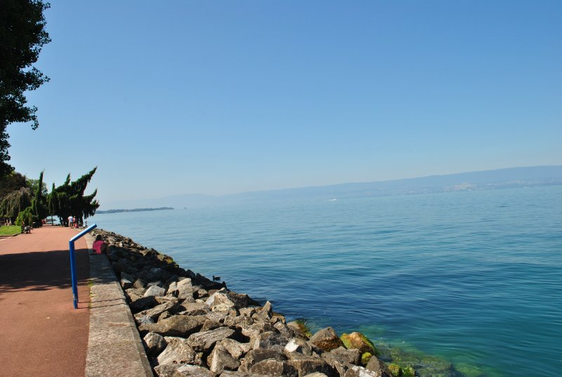 Down in Evian the lake is beautiful and tranquil