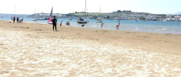 Instow beach looking upstream & across the estuary towards Bideford