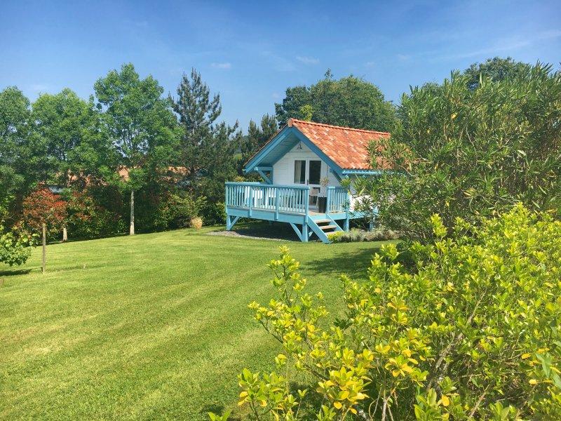 Hut Blue Shutters, garden side