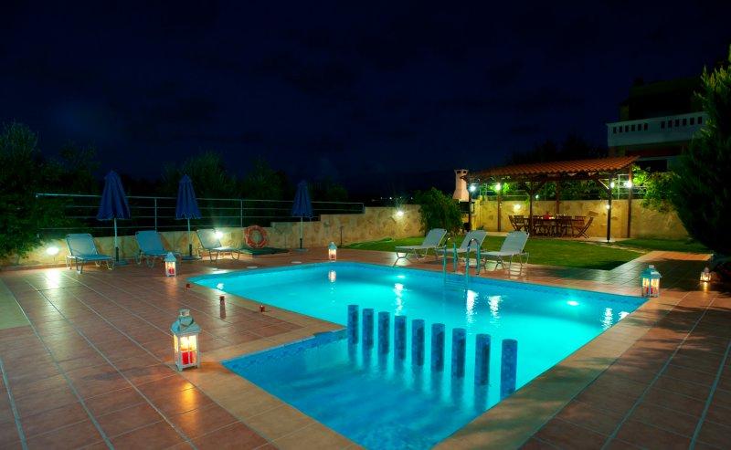 garden pool night view
