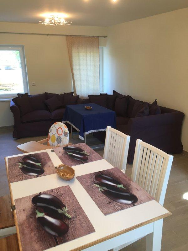 Wohnküche mit Schlafcouch, der gasamte Bungalow ist mit Fußbodenheizung ausgestattet
