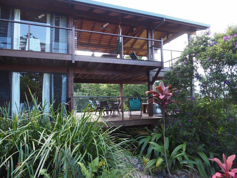 view of decks from garden