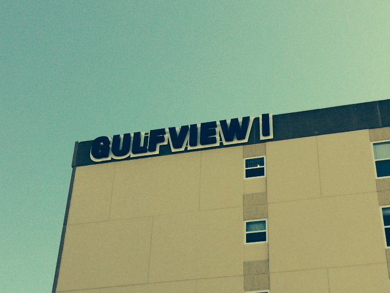 The corner of my building with the Gulfview I letters.