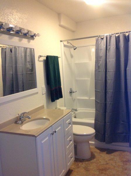 Ensuite bathroom adjoining guest bedroom.