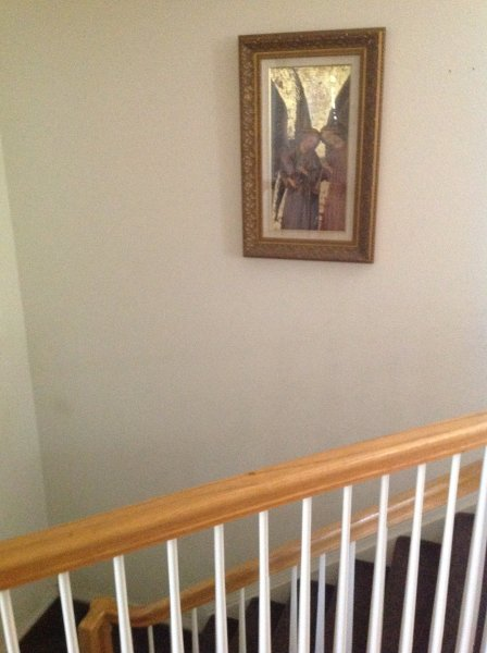 Stairway to walkout basement where guest rooms--bedrooms, private bathrooms, full kitchen, are.