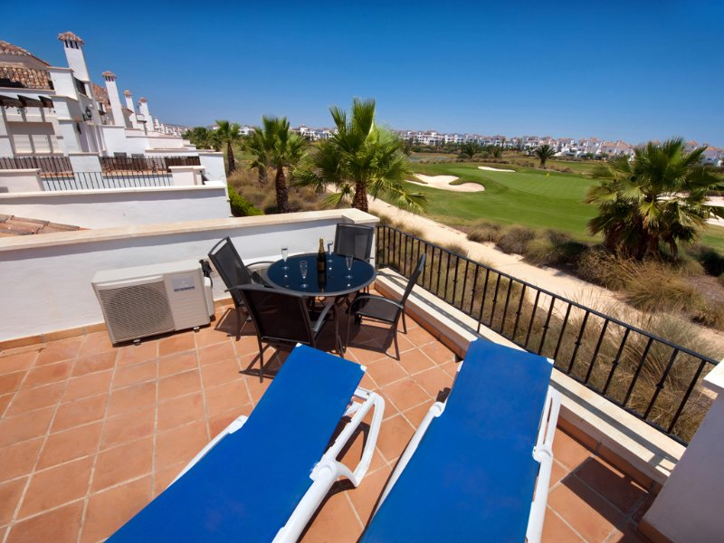 We have four sun loungers on the top terrace, which overlooks the golf course.