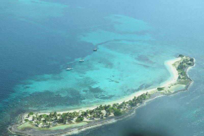 Sandy Island in Hillsborough  Bay --taken from SVG airline flight
