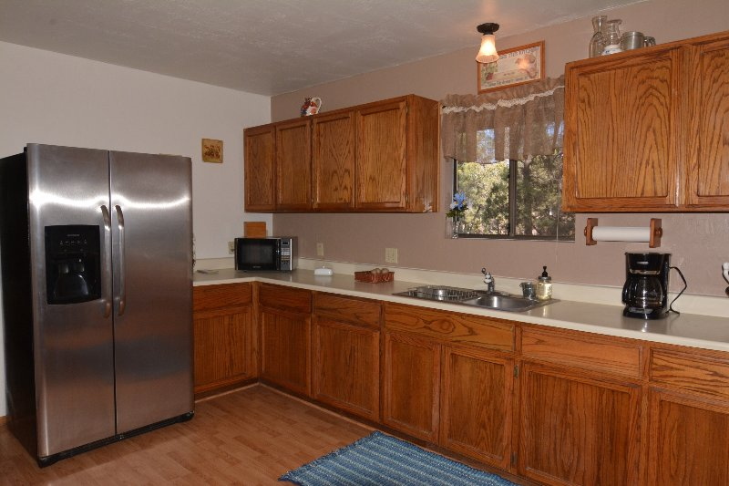 Large open kitchen with microwave