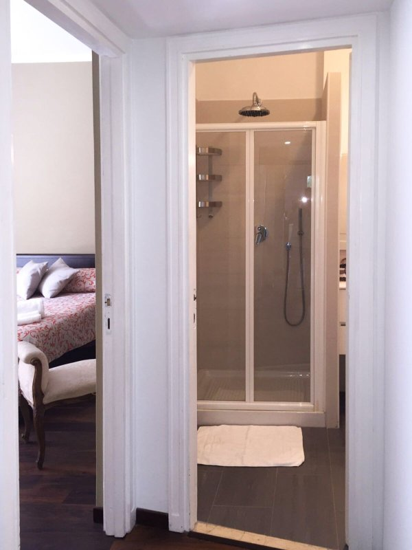 Bedroom and private bathroom just next to each other.
