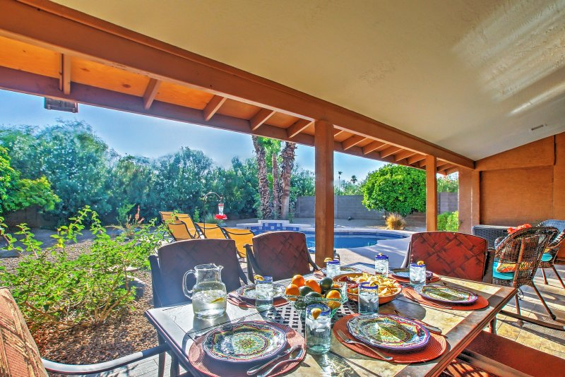 This covered patio is the perfect place to dine al fresco!