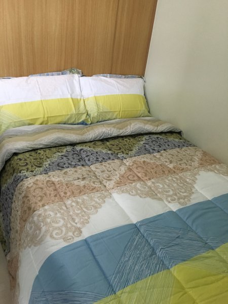 Semi-double bed with 1 single bed pull-out. Accommodates max of 3 people.
