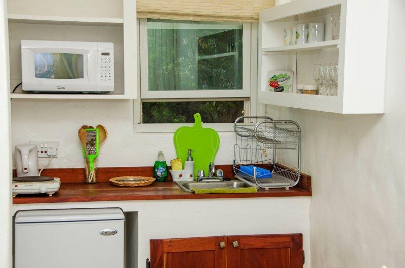 kitchenette in, garden room, balcony room and Loft room.