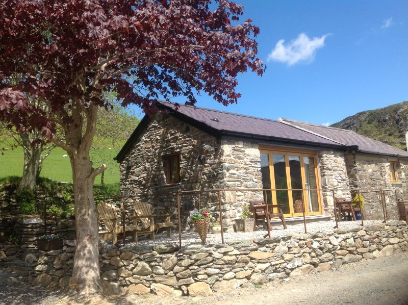 Ty Felin cottage surrounded by picturesqe fields and spectacular mountains
