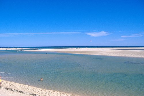 Ria Formosa beach with its white sand