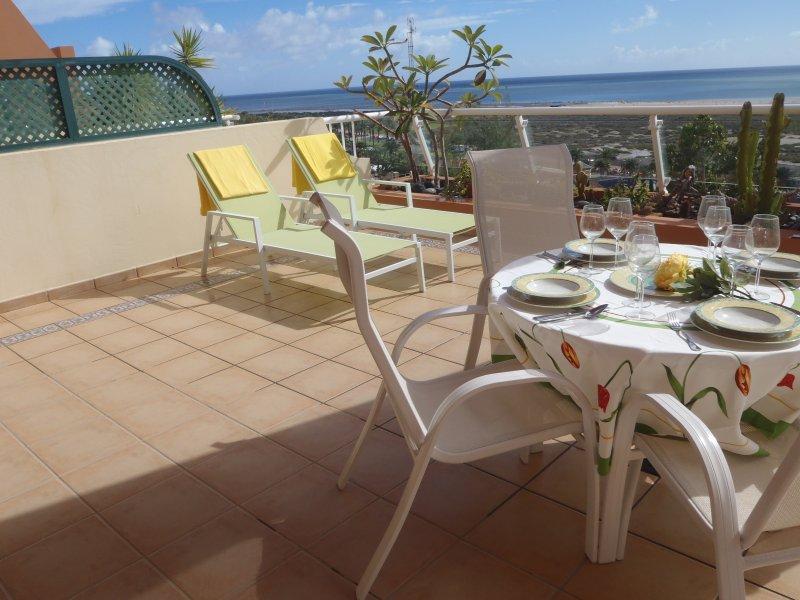 Amplia y cómoda terraza con vistas a la playa.