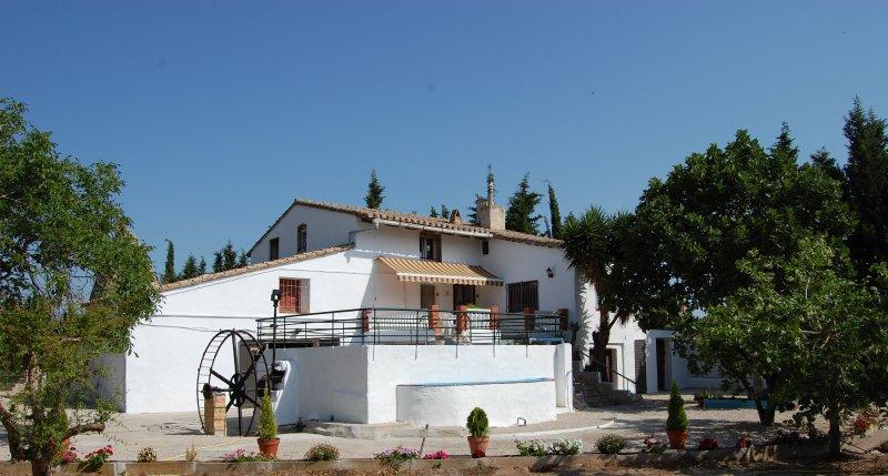 Se puede apreciar la terraza, la piscina al frente y el antiguo molino de agua.