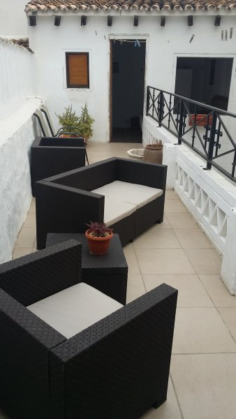 Upper terrace with seating and built in bbq