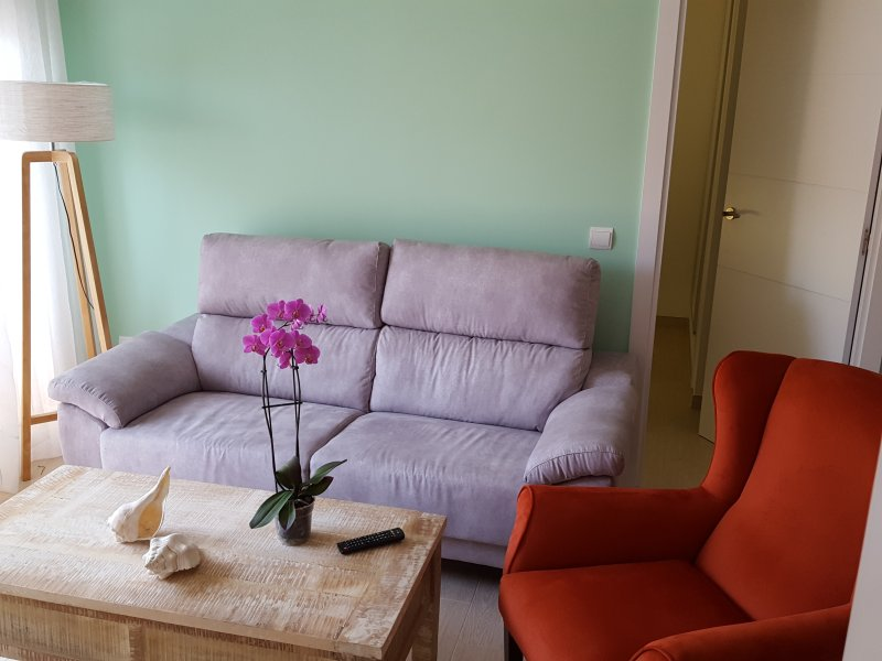 Salon with armchair and three seater sofa
