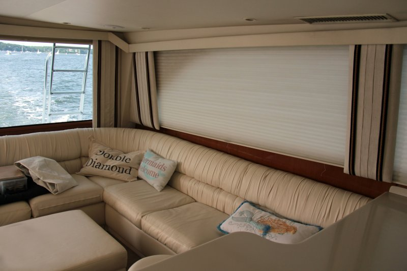 Interior of the 58' Viking called 'Double Black Diamond' available for charter