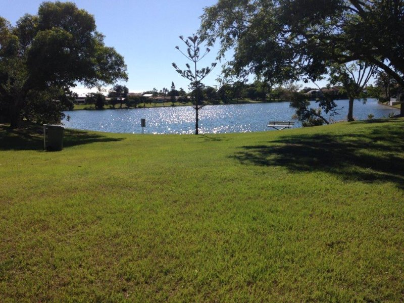 Freshwater lake, just around the corner.  No sharks!!
