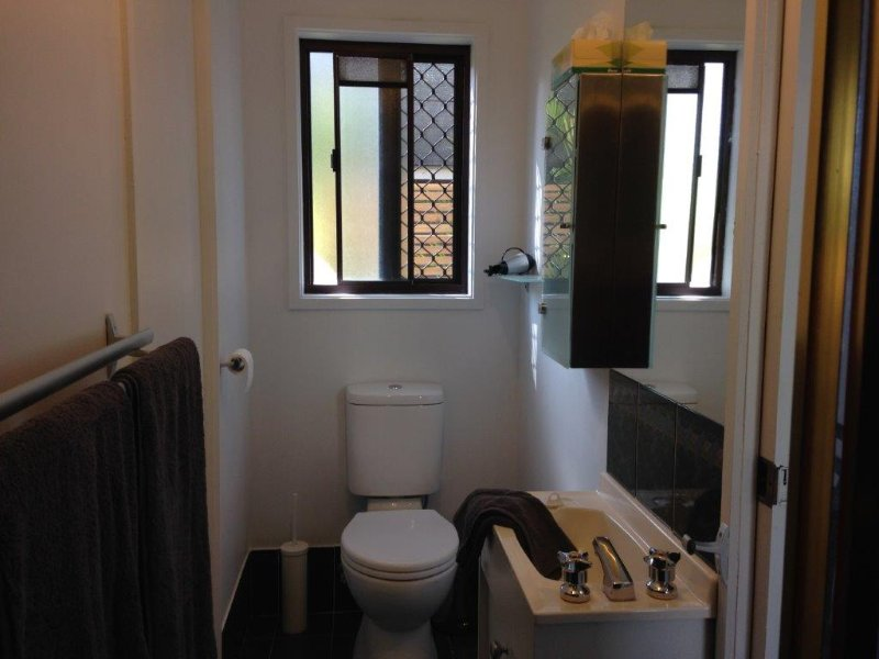 Compact en suite with hair dryer.  Great shower!