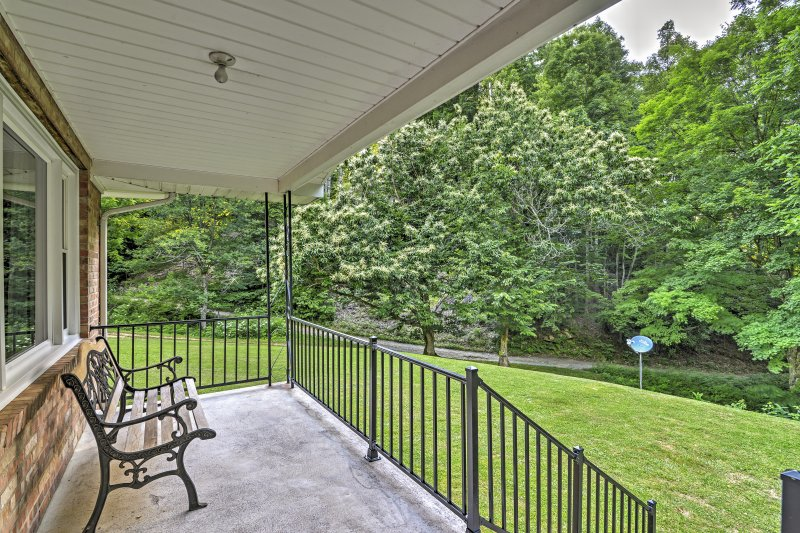 Enjoy peace and quiet while sipping your morning coffee on the patio.