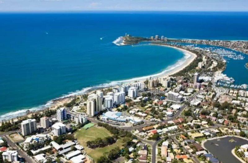 Aerial photo of Mooloolaba beach