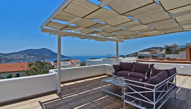 Your private top roof terrace with pergola seating area and Kalkan bay sea views.