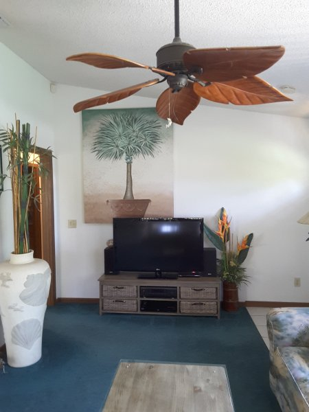 Living Room Updated, vaulted ceiling, large flat screen LED TV.