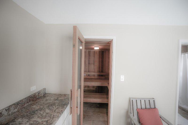 Pool house sauna