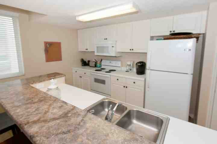 Fully equipped kitchen with toaster, coffee pot and Keurig