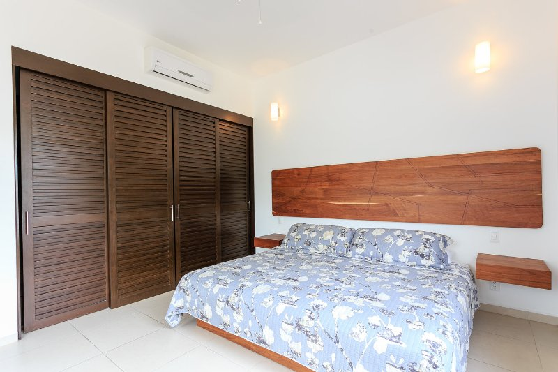 The room with king bed and large closet