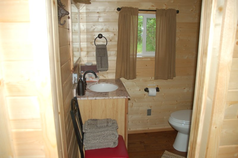 Tranquility Cabin Bathroom with Sink, Toilet and Shower